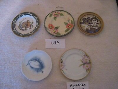 """5 Butter Pat Porcelain Dishes, made in USA & Japan, 2 7/8"""" to 3 1/4""""wide,Gd.Cond"""