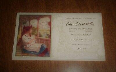 Vintage Ink Blotter Theo Ebert & Co. Painting Decorating Chicago Swiss Mother