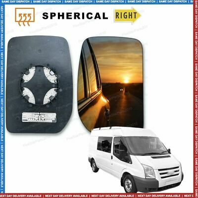 Right Driver side Convex wing mirror glass for Ford Transit 2000-2014 heated