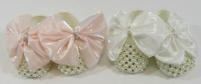 Baby Girl Special Occasion Shoes Party Wedding Beaded Bow Ivory Soft Sole NB 0-6