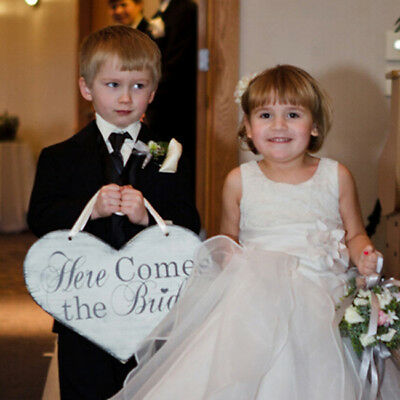 Here Comes the Bride Banner Wedding Flower Girl Rustic Ceremony Sign B