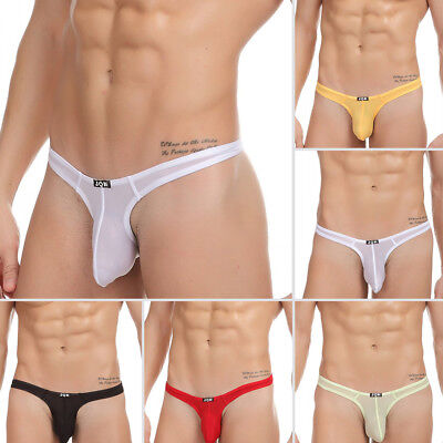 Mens Sexy Thong Ice Cotton Casual Soft Mini New Underwear Underpants G-String