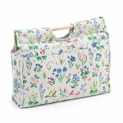 Knitting Bag Sewing Bag With Wooden Handles 100% Cotton Spring Garden Design