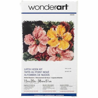 """Brilliant Blossoms Latch Hook Kit 15x20"""" By Caron Wonderart. No Tool Included."""