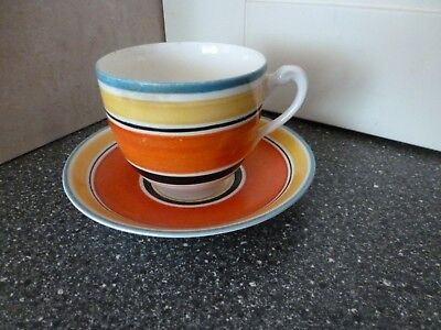 Vintage Grays Pottery Art Deco Banded Cup & Saucer Orange Black Yellow (B)