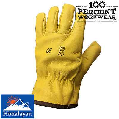 Himalayan Thermal Fleece Lined Yellow Grain Leather Work Safety Gloves Drivers