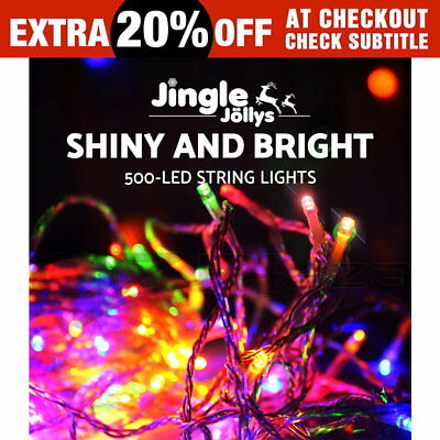 50M Christmas String Lights 500LED Party Wedding Outdoor Garden Multi Colour