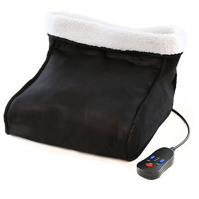 Electric Foot Massager Warmer Relaxing Fleece Suede Heated Feet Black Comfort