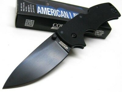 Cold Steel 58B Tactical Black American Lawman Straight S35VN Folding Knife