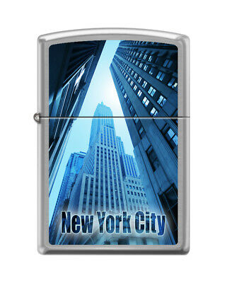 """Zippo """"New York City-Looking Up"""" Brushed Chrome Lighter, 8931"""