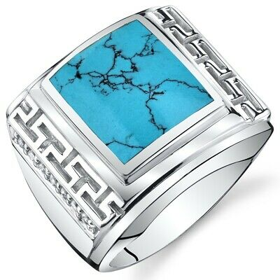 Mens Greek Key Simulated Turquoise Chunky Ring Sterling Silver Sizes 8 To 13