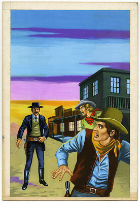 Vintage Mexican Pulp Western Illustration Art Painting Armed Sheriff & Bandits