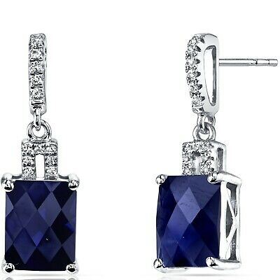 14K White Gold Created Sapphire Earrings Radiant Checkerboard Cut 6.00 Carats