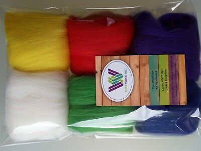 Christmas * Pure Wool Roving Tops for Needle and Wet felting Red Green Blue 30g