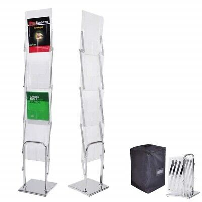 Yescom Portable Pop Up 4 Clear Pocket Magazine Brochure Literature Catalog Rack