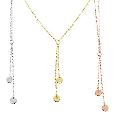 THREE COLOR Rose Gold Plated Hammered Disc Lariat .925 Sterling Silver Necklace
