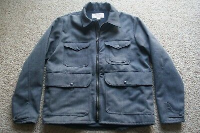 Filson Men's Gray Whipcord Wool Bell Bomber Jacket. Made in USA. Size L