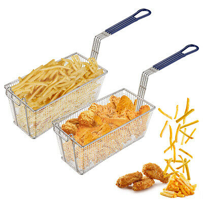 "2Pcs 13x6x6"" Deep Fryer Basket w/ Handle Commercial Restaurant Kitchen Chip Fish"