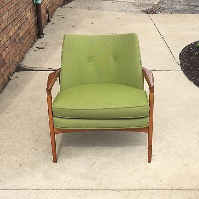 Mid Century Modern Milo Baughman Walnut Chair Original Fabric MCM Thayer Coggin