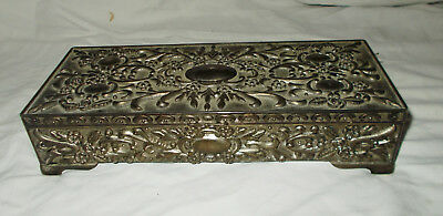 "Vintage Silverplated Jewelry Box Rectangle 9"" X 3 1/2"" x 2"" Red Velvet Inside"
