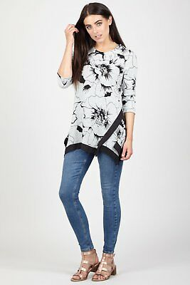 STELLA MORGAN FLORAL LONG SLEEVE BUTTERFLY PRINT SOFT TOUCH TUNIC JUMPER
