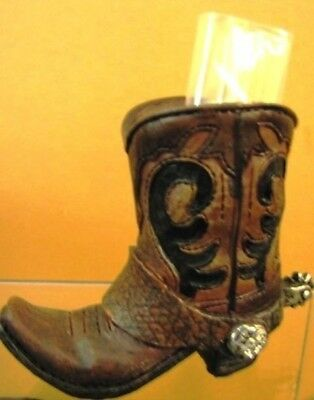 Western Cowboy Resin Boot Collectible Brown Boot  with Spurs