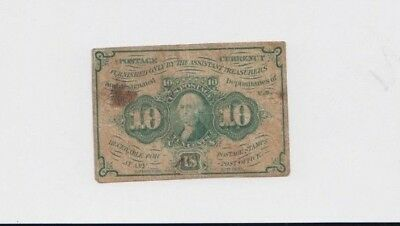 Fractional Currency Civil war era item to the 1870s vg stains