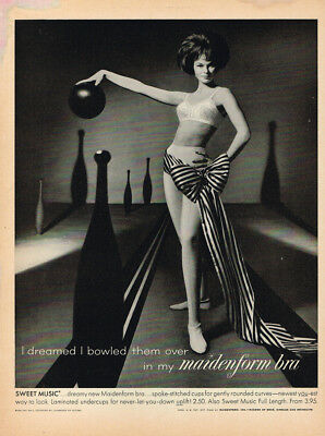 "1961 Maidenform Bra ""i Dreamed I Bowled Them."" Vintage Original Laminated Ad Art"