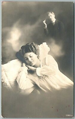 Marriage Dream Romantic Antique Real Photo Postcard Rppc
