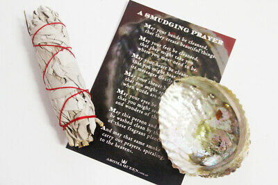 AQ - WHITE SAGE SMUDGING KIT inc Abalone Shell, Sage Smudge Stick + Prayer Card