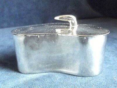 SUPERB ~ SILVER Plated / White Metal ~ KIDNEY Shaped ~ Trinket / Jewelry CASE