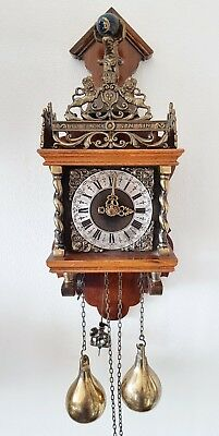 Warmink Wall Clock Dutch Zaanse Clock Chain Driven Bell Strike Nut Wood Pendulum