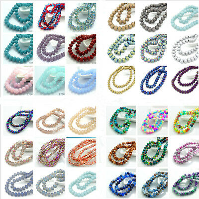 Hot 40pcs Rondelle Faceted Crystal Glass Spacer Loose Beads Jewelry Making 8x6mm