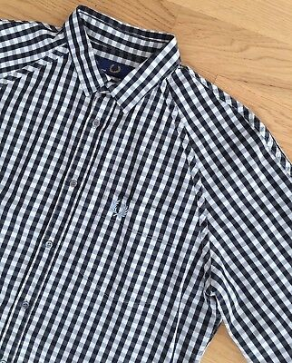 FRED PERRY WHITE & BLACK CLASSIC GINGHAM CHECK LONG SLEEVE SHIRT M mod casuals