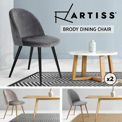 Artiss Dining Chairs Fabric Velvet Seat Kitchen Cafe Modern Seat Grey Black x2