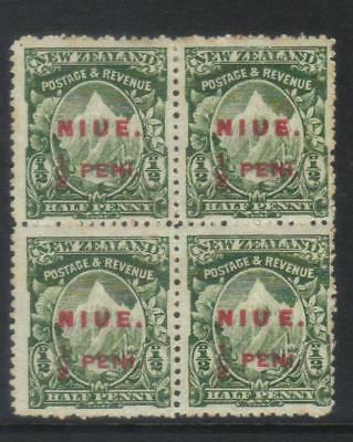 NIUE 1902 SURCH SG8a IN BLOCK WITH 3 x SG8