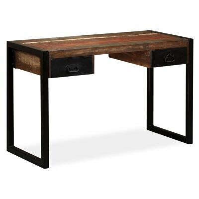 vidaXL Solid Reclaimed Wood Desk with 2 Drawers 120x50x76cm Office Worktable✓
