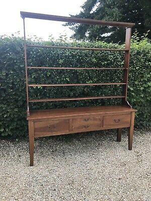 Mahogany 4 Drawer Country Dresser And Plate Rack