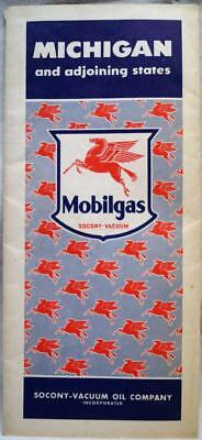 MOBIL MOBILGAS STATE OF MICHIGAN HIGHWAY ROAD MAP 1940s VINTAGE AUTO TRAVEL