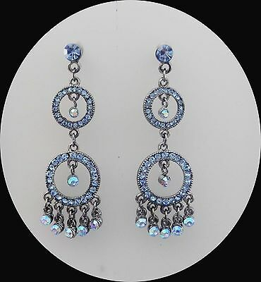 Vintage Circle Chandelier Earrings with Sapphire Australia Crystal E2115A