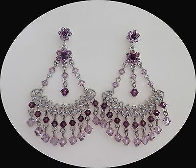 Vintage Fashion Chandelier Earrings with Amethyst Australia Crystals E2308