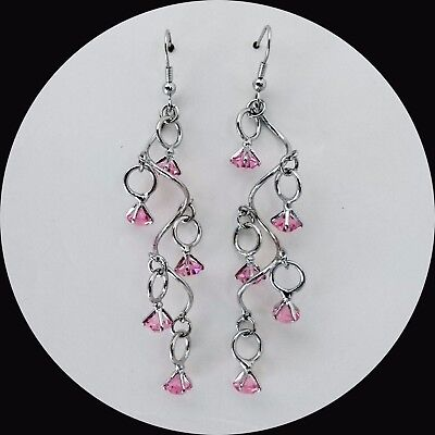 Handmade Dangle Earrings with Lt Rose Australia Xilion Rivoli Crystals E1382