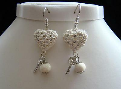 Puff Heart Earrings Stylish Dangle Earring With Clear Rhinestone Crystal E1132