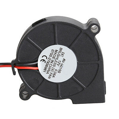 Black Brushless DC Cooling Blower Fan 2 Wires 5015S 12V 0.12A A 50x15 mm G1HLS