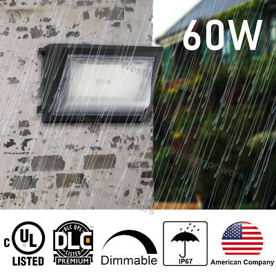 60W LED Wall Pack Outdoor Warehouse Lighting UL DLC Bright White Replace 300W