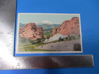 Vintage Pike's Peak From The Gateway Garden of The Gods Colorado Post Card PC65