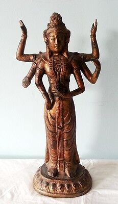 Southeast Asian Hindu Goddess with 6 Arms, Bronze Finish