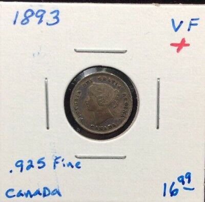 1893 Canada Sterling Silver 5 Cent Coin in VF+ Condition