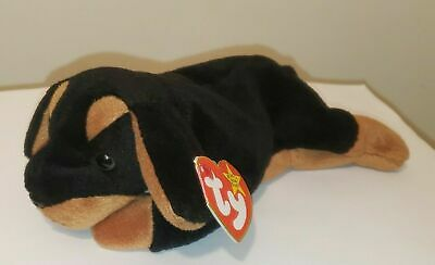 CT* Ty Beanie Baby ~ DOBY the Doberman Dog ~ MINT with CREASED TAG