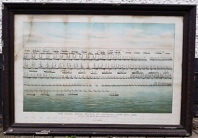Rare Royal Naval Review At Spithead Queen Victoria Jubilee 1897 Navy Lithograph